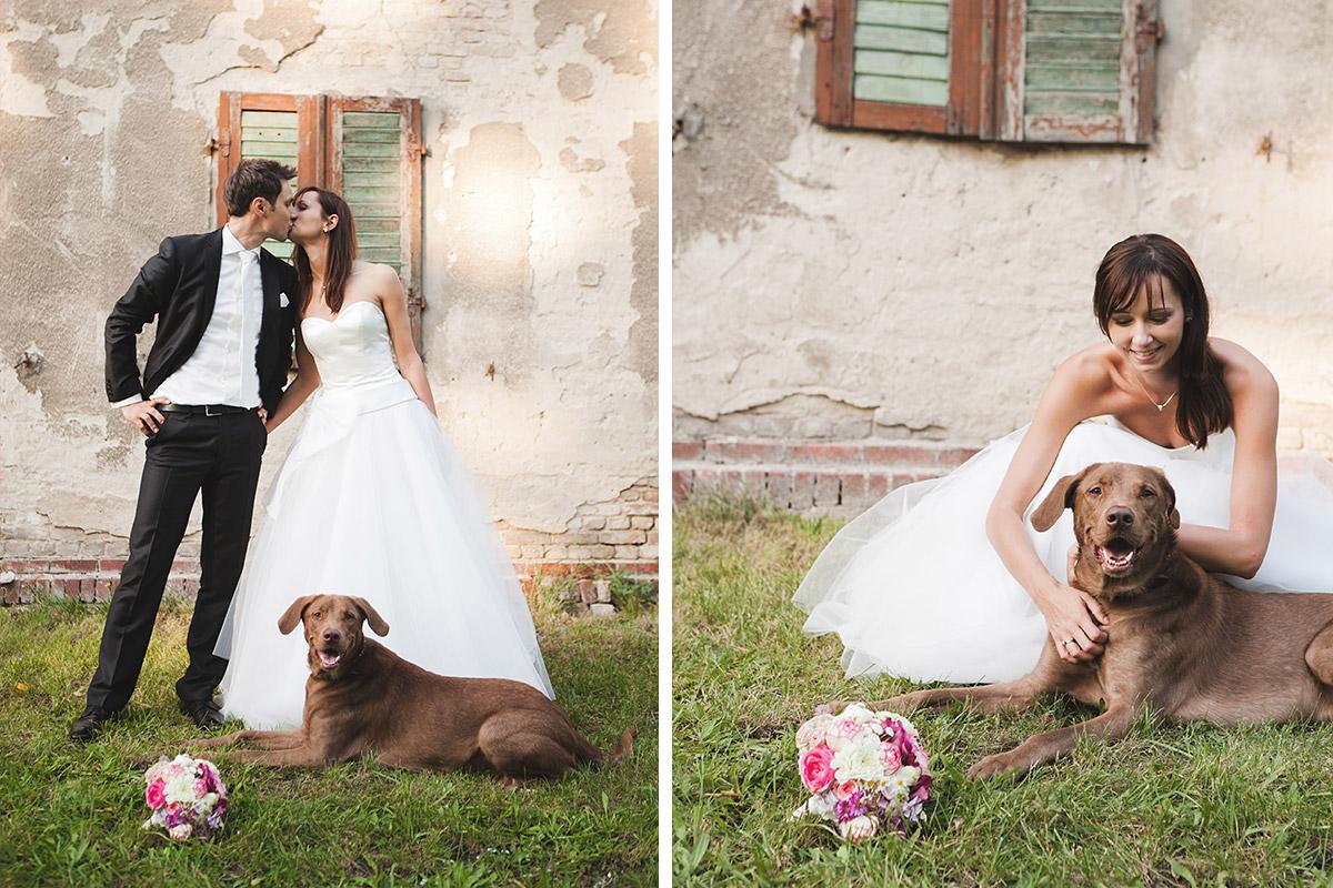 Brautpaarfoto mit Hund bei Vintagehochzeit auf Schloss Kartzow aufgenommen von professionellem Berliner Hochzeitsfotografen © Hochzeitsfotograf Berlin www.hochzeitslicht.de