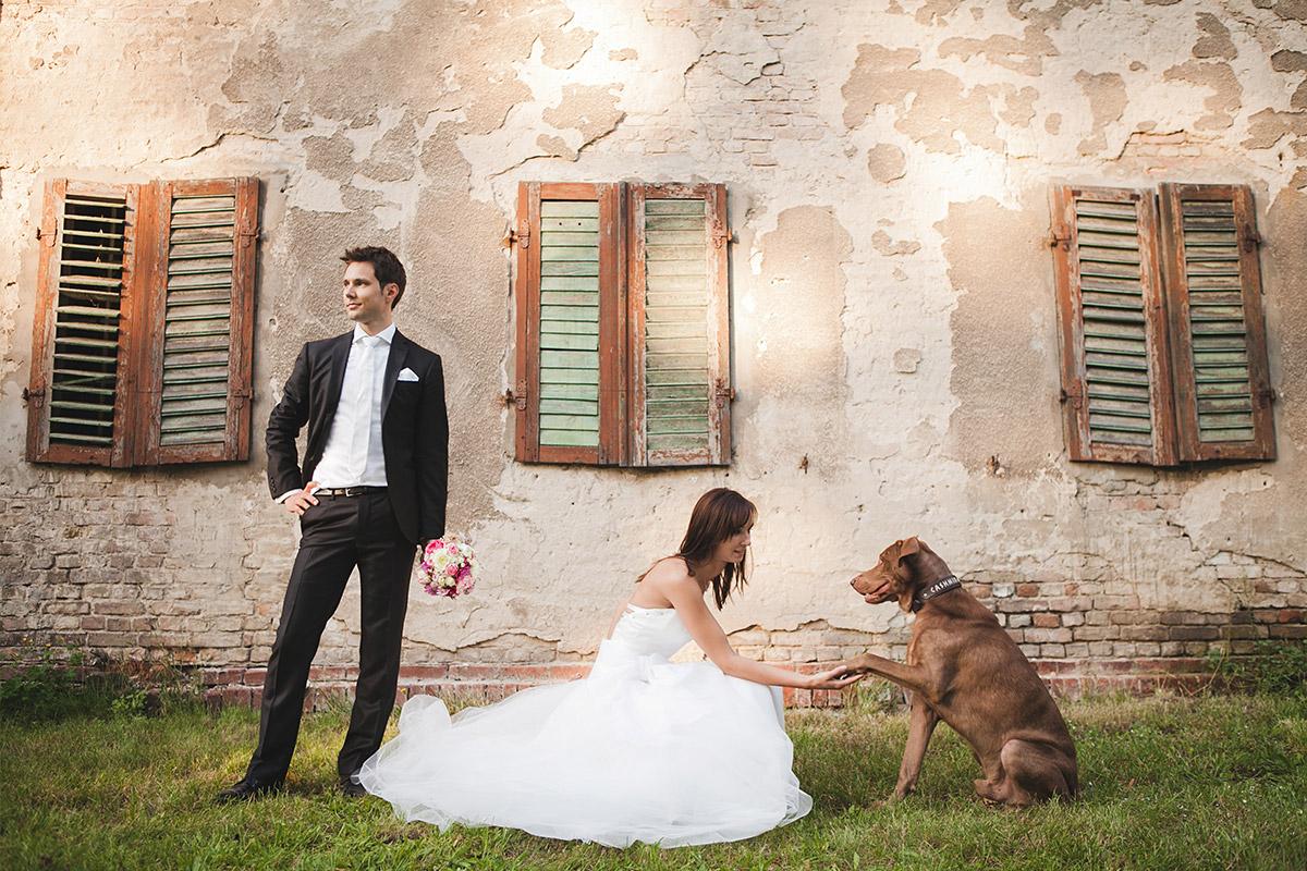 Hochzeitsfoto von Brautpaar mit Hund aufgenommen von professionellem Hochzeitsfotografen auf Schloss Kartzow © Hochzeitsfotograf Berlin www.hochzeitslicht.de
