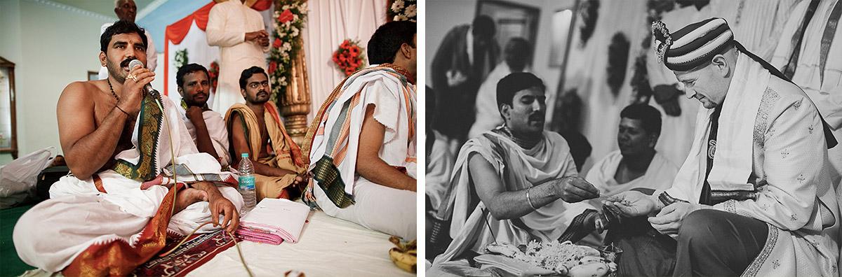 Priester und Bräutigam bei hinduistischer Hochzeitszeremonie in Hyderabad, Indien © Hochzeitsfotograf Berlin hochzeitslicht