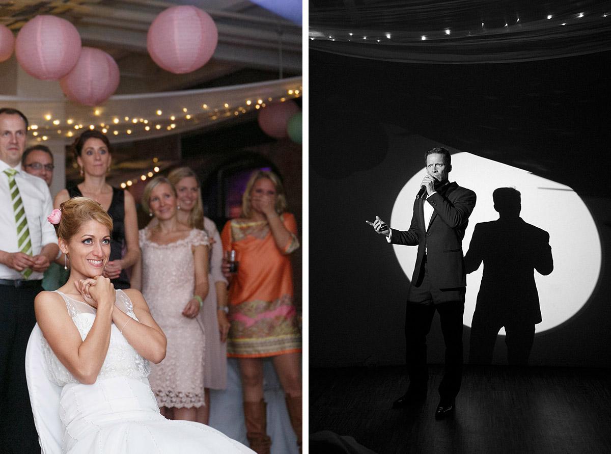 Hochzeitsreportagefotos bei Gesangseinlage des Bräutigams aufgenommen von professionellem Fotograf im Spreespeicher Berlin © Hochzeitsfotograf Berlin www.hochzeitslicht.de