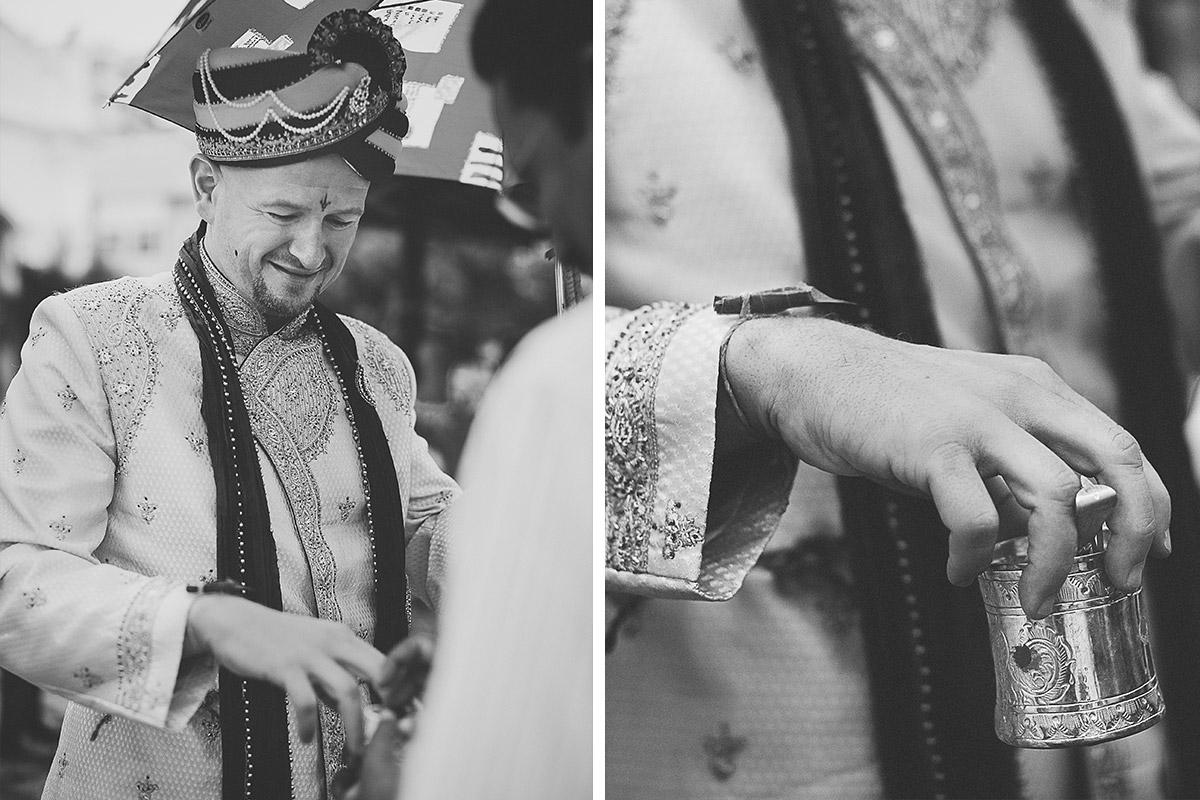 Hochzeitsfotografien des Bräutigams bei indischer Hochzeit © Hochzeitsfotograf Berlin hochzeitslicht