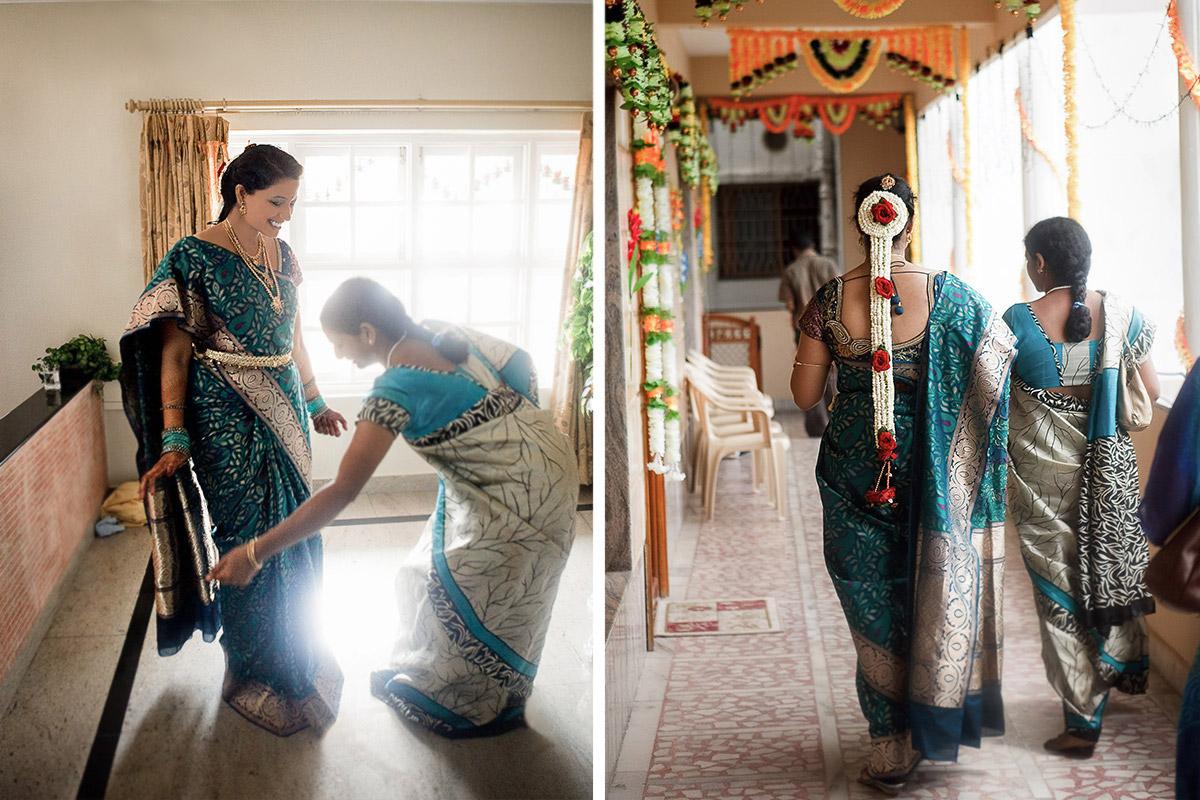 Hochzeitsreportagefoto von Braut bei Vorbereitungen auf Hochzeitszeremonie in Indien © Hochzeitsfotograf Berlin hochzeitslicht