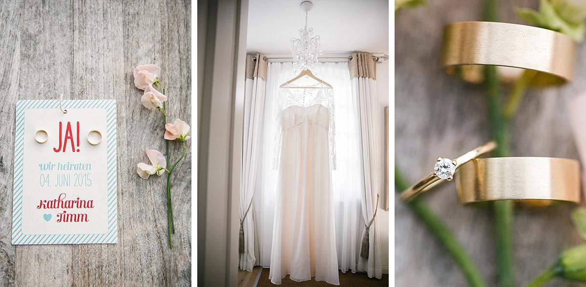 Detailfoto von Hochzeitseinladung, Brautkleid mit Spitze und Eheringen ...