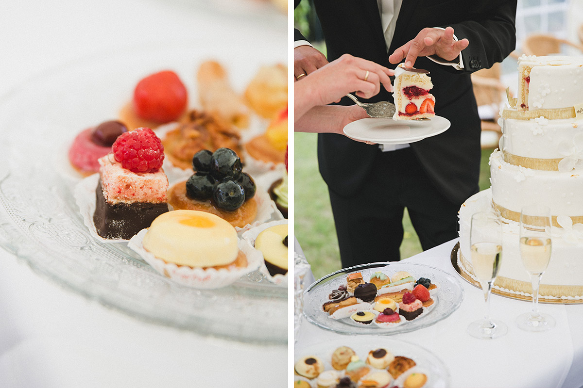 Hochzeitstorte bei Sommerhochzeit auf Schloss Herzfelde © Hochzeitsfotograf Berlin www.hochzeitslicht.de