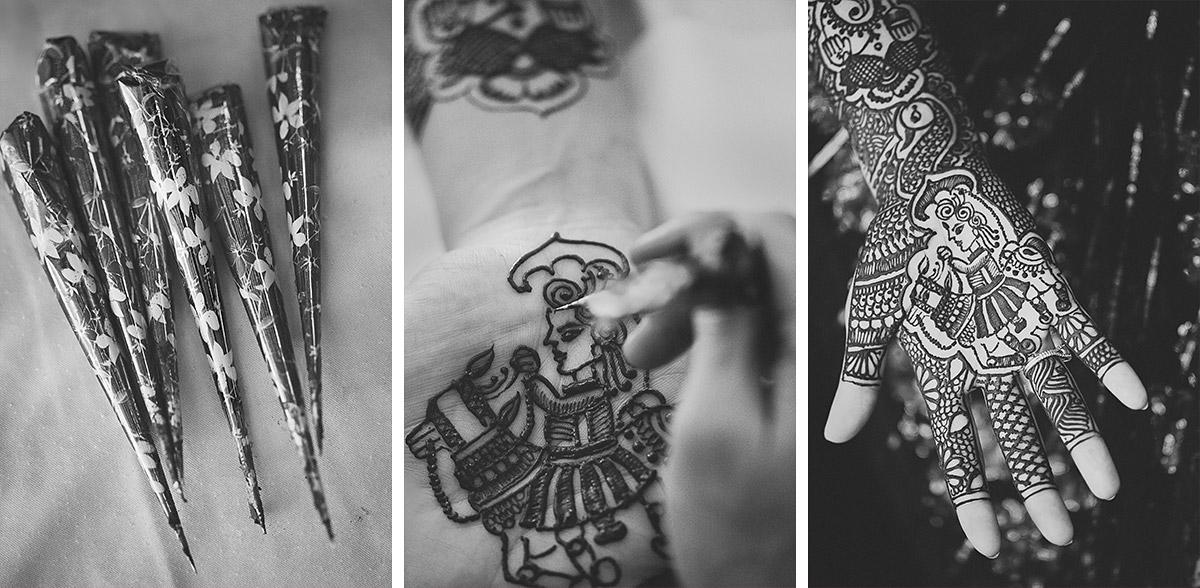 Mehndi bei indischer Hochzeitszeremonie aufgenommen von professioneller Berliner Hochzeitsfotografin © Hochzeitsfotograf Berlin hochzeitslicht