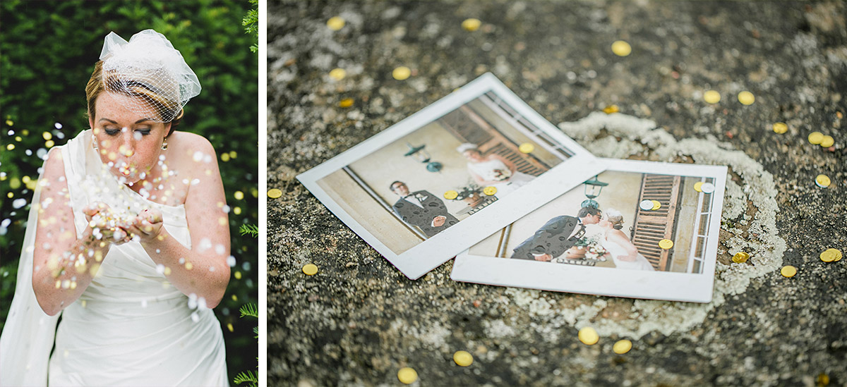 moderne Hochzeitsfotografie von Braut und Polaroidfotos bei Hochzeit auf Schloss Herzfelde Brandenburg © Hochzeitsfotograf Berlin www.hochzeitslicht.de
