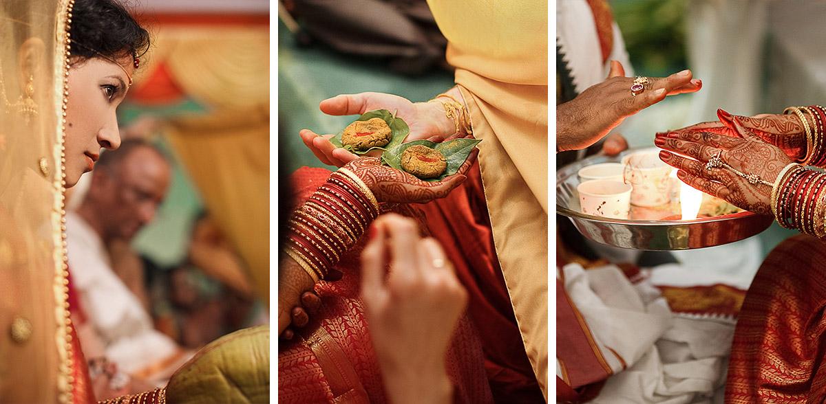 Hochzeitsfoto von Braut mit Priester bei Pheras bei Indien Hochzeit in Hyderabad © Hochzeitsfotograf Berlin hochzeitslicht