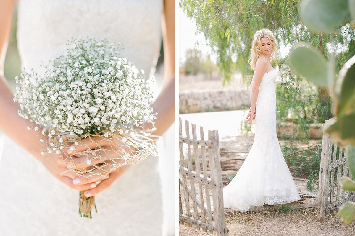 Hochzeitsfotos vom Brautstrauß aus Schleierkraut und Portrait der Braut bei Mallorca-Hochzeit © Hochzeitsfotograf Berlin hochzeitslicht
