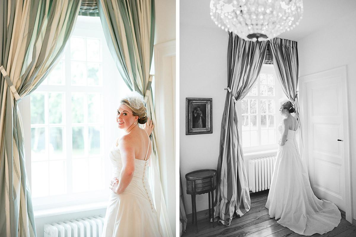 professionelle Hochzeitsfotografien von Braut bei Schlosshochzeit auf Schloss Herzfelde, Uckermark © Hochzeitsfotograf Berlin hochzeitslicht