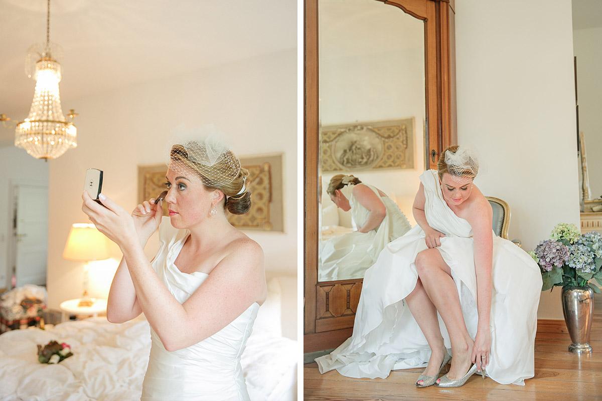 Hochzeitsfotos von den Vorbereitungen der Braut bei vintage Schlosshochzeit auf Schloss Herzfelde Brandenburg © Hochzeitsfotograf Berlin www.hochzeitslicht.de