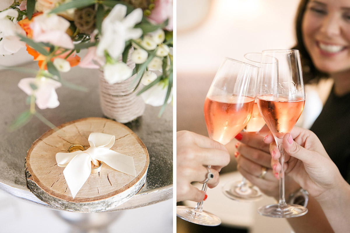 Detailfoto von Eheringen und Hochzeitsreportage von Getting Ready der ...