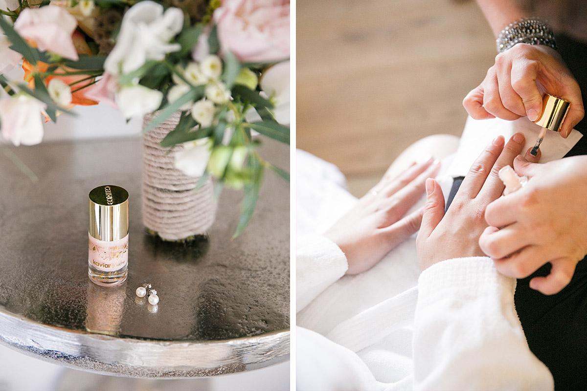 Hochzeitsreportage-Foto bei Hochzeitsvorbereitungen der Braut in ...