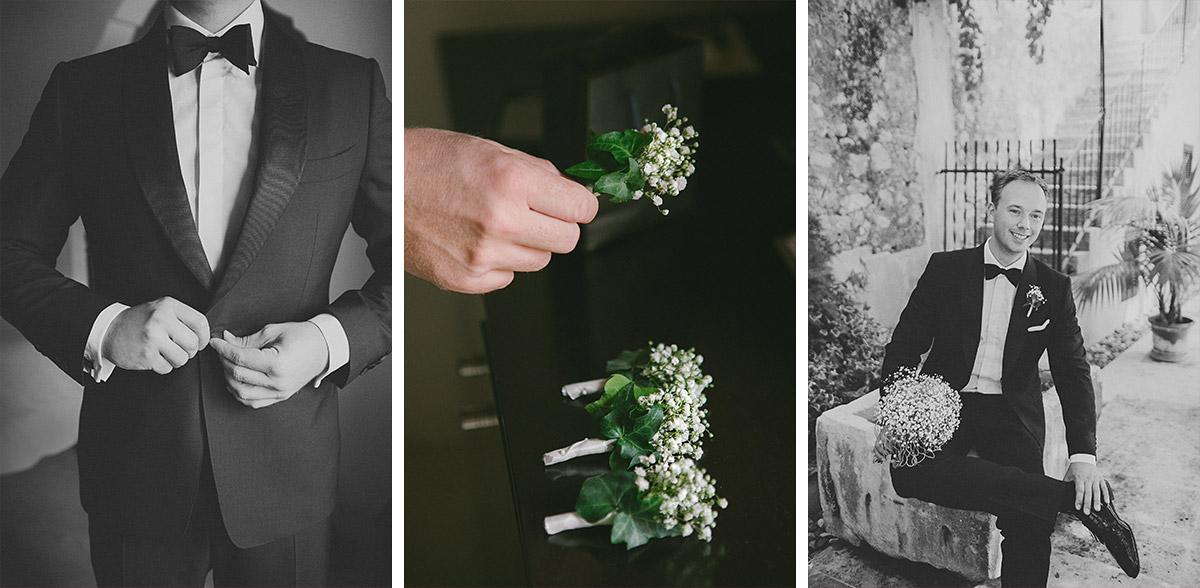 Bräutigam wartet während Strandhochzeit auf Braut und Detailaufnahme vom Anstecksträußchen aus Schleierkraut aufgenommen von Hochzeitsfotograf auf Mallorca © Hochzeitsfotograf Berlin www.hochzeitslicht.de