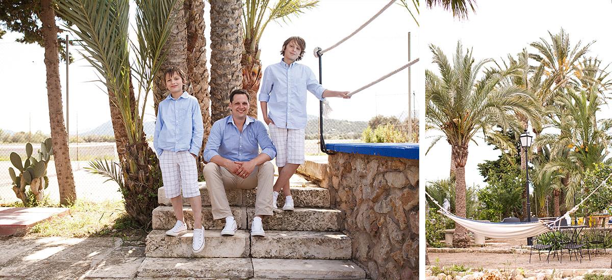 Foto von Vater mit Söhnen vor Hochzeit auf Mallorca aufgenommen während Ausbildung zum Fotografen © Hochzeitsfotograf Berlin hochzeitslicht