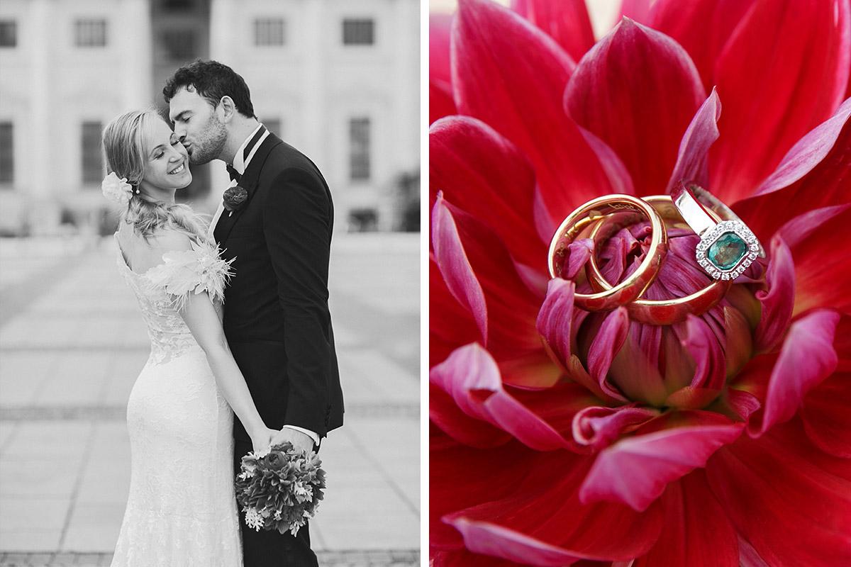 Braut und Bräutigam bei Hochzeits-Fotoshooting auf dem Gendarmenmarkt und Makroaufnahme der Eheringe im Hotel de Rome Berlin © Hochzeit Berlin www.hochzeitslicht.de