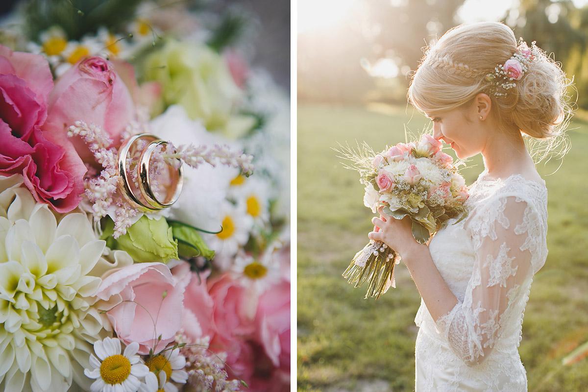 Hochzeitsfoto von Braut und Detailaufnahme der Eheringe auf Brautstrauß bei Sommerhochzeit im Schloss Marquardt Potsdam © Hochzeitsfotograf Berlin www.hochzeitslicht.de