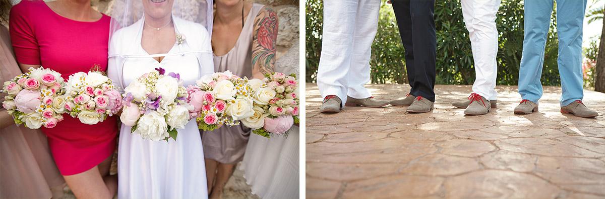 Hochzeitsfotografie der Brautjungfern mit Braut und des Bräutigams mit Best Men bei Hochzeit auf Mallorca © Hochzeitsfotograf Berlin hochzeitslicht