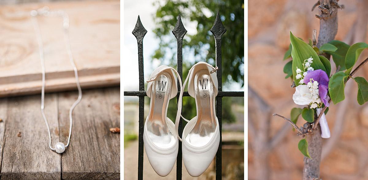 Detailaufnahmen von Brautschmuck und Brautschuhen aufgenommen von Hochzeitsfotografin auf Mallorca © Hochzeitsfotograf Berlin hochzeitslicht