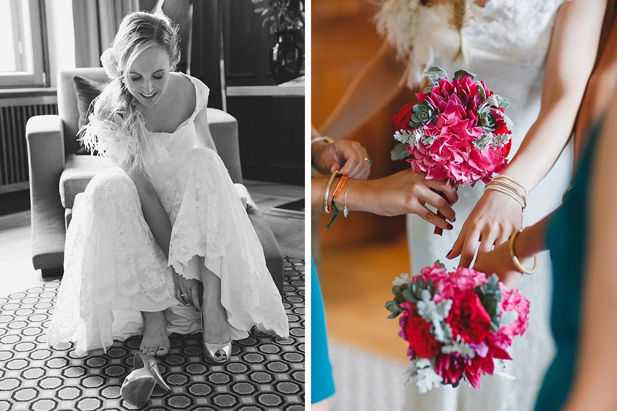 professionelle Hochzeitsfotos von Braut mit Brautjungern bei Vorbereitungen auf Hochzeit im Hotel de Rome © Hochzeit Berlin www.hochzeitslicht.de