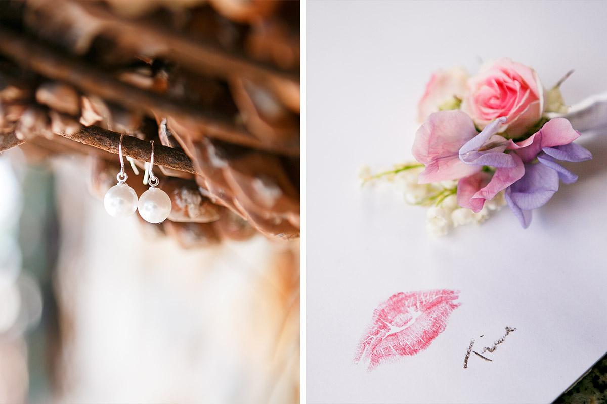 Hochzeitsfotos von Brautohrringen und Detailsfoto Hochzeitsblumen bei Mallorca Hochzeit © Hochzeitsfotograf Berlin hochzeitslicht
