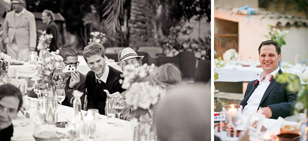Fotos der Gäste und des Bräutigams bei Hochzeitsfeier auf mallorquinischer Finca © Hochzeitsfotograf Berlin hochzeitslicht