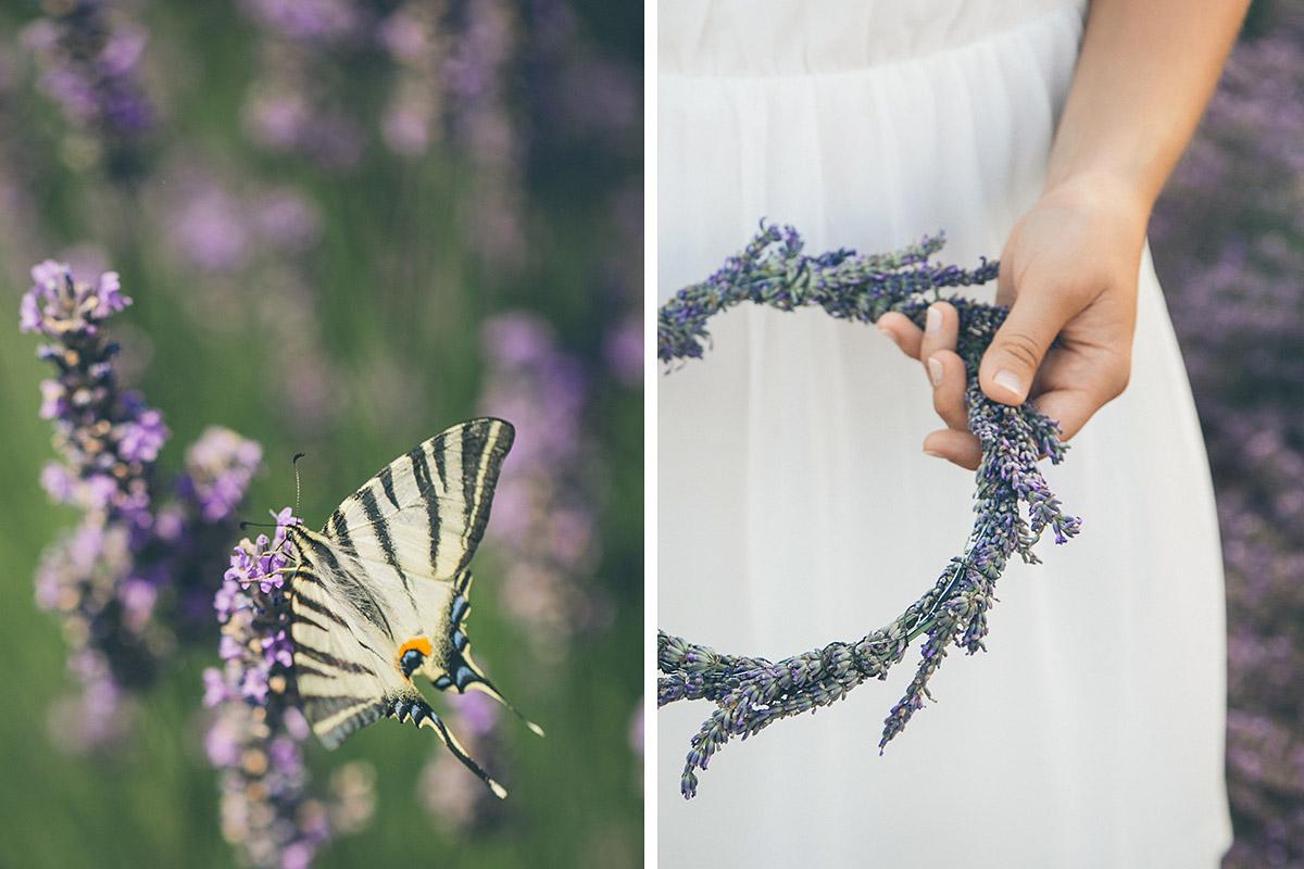 Schmetterling im Lavendelfeld und Haarkranz aus Lavendel von professionellen Fotografen aus Berlin in der Provence, Frankreich © Fotostudio Berlin LUMENTIS