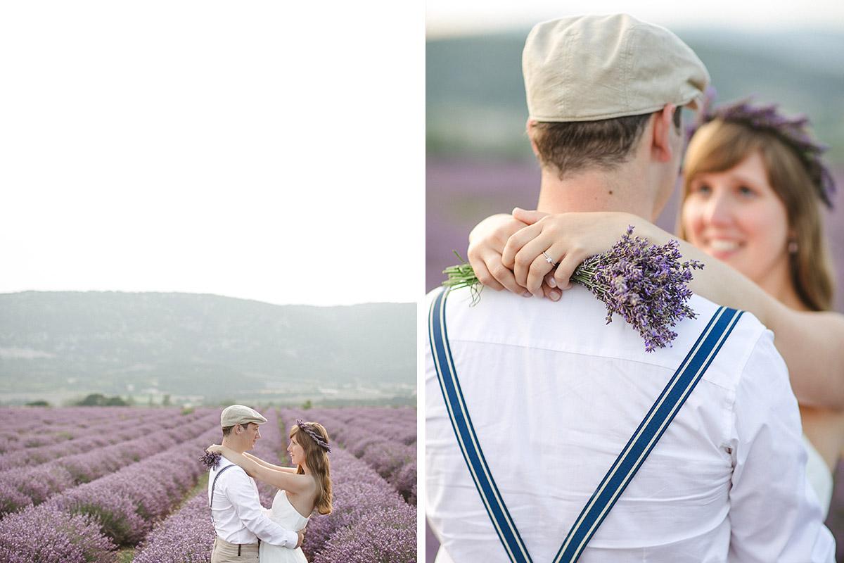 Paarfotos im Lavendelfeld mit Pärchen aufgenommen in der Provence, Frankreich © Fotostudio Berlin LUMENTIS