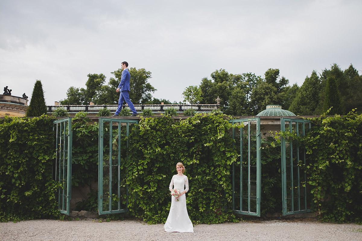Kreatives Hochzeitsfoto bei Hochzeit Schloss Sanssouci Potsdam © Hochzeitsfotograf Berlin www.hochzeitslicht.de