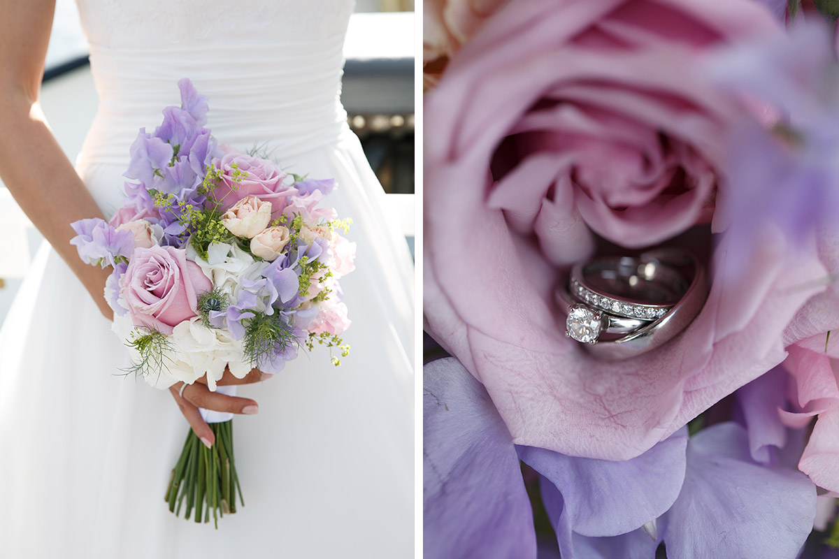 Moderne Hochzeitsfotos von Brautstrauß in Pastellfarben und Eheringen bei Schloss Glienicke Hochzeit © Hochzeitsfotograf Berlin www.hochzeitslicht.de