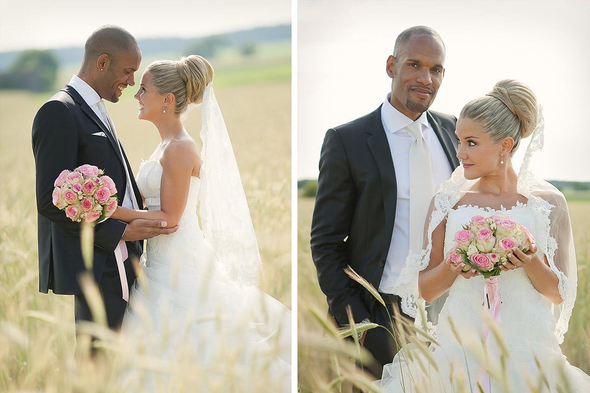 Brautpaarfotos aufgenommen von professionellem Hochzeitsfotograf in Feld bei Gut Wendgräben Hochzeit © Hochzeitsfotograf Berlin www.hochzeitslicht.de