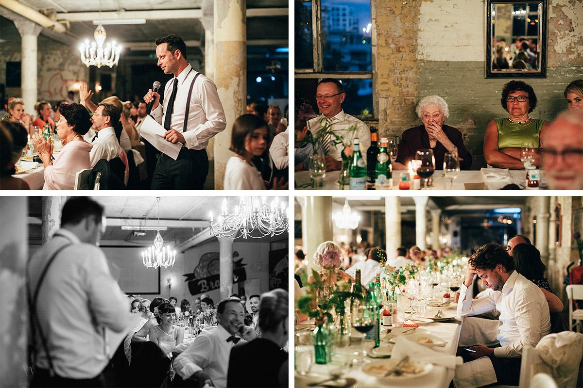 Hochzeitsreportage-Fotos von Hochzeitsfeier am Abend aufgenommen von Hochzeitsfotograf in Alter Teppichfabrik Berlin © Hochzeit Berlin www.hochzeitslicht.de