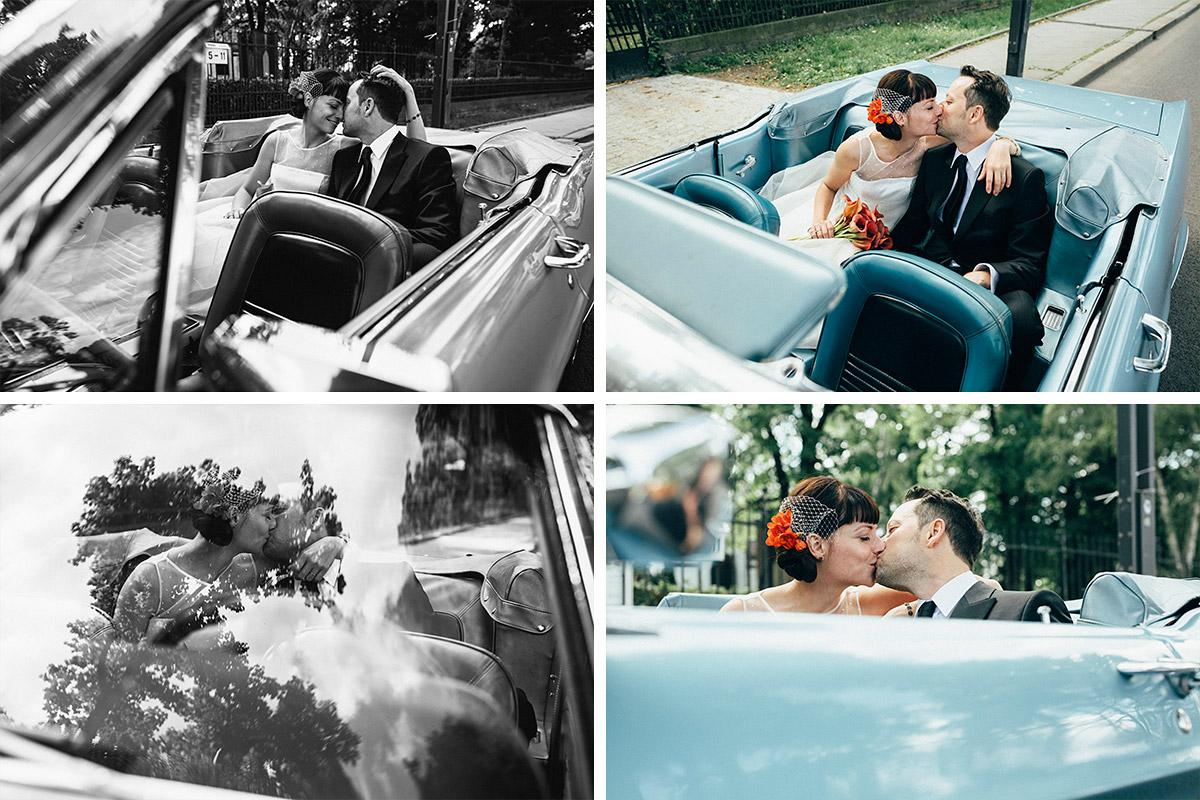 Hochzeitsfoto von Brautpaar in vintage Hochzeitsauto bei Hochzeit Alte Teppichfabrik Friedrichshain © Hochzeit Berlin www.hochzeitslicht.de