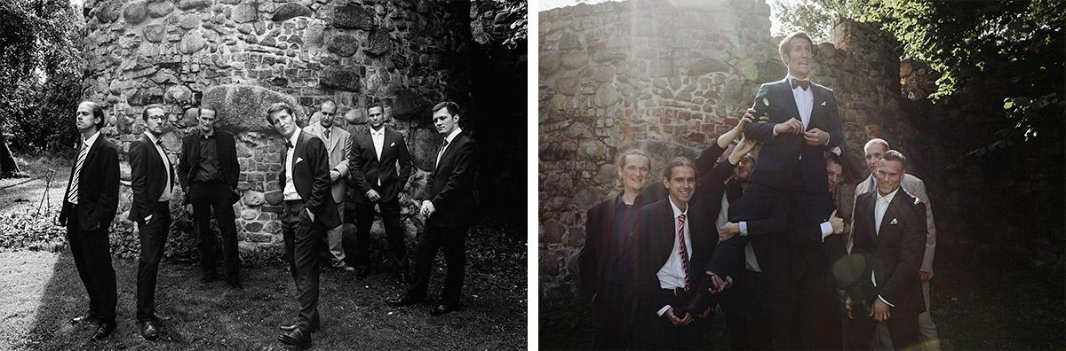 Gruppenfotos von Bräutigam mit Best Men bei Schloss Neuhausen Hochzeit Brandenburg © Hochzeitsfotograf Berlin www.hochzeitslicht.de