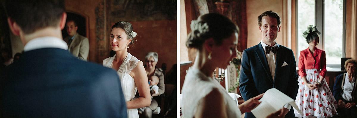 Hochzeitsreportagefotos von Eheversprechen der Braut bei Hochzeit im Schloss Neuhausen Prignitz © Hochzeitsfotograf Berlin www.hochzeitslicht.de