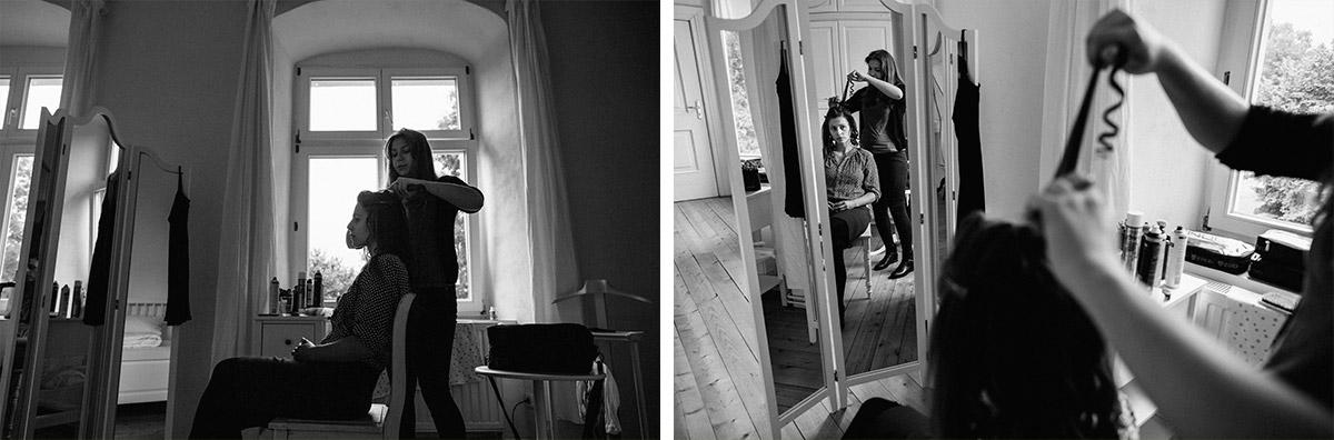 künstlerische Hochzeitsfotos von Vorbereitungen der Braut bei Hochzeit auf Schloss Neuhausen, Prignitz © Hochzeitsfotograf Berlin www.hochzeitslicht.de