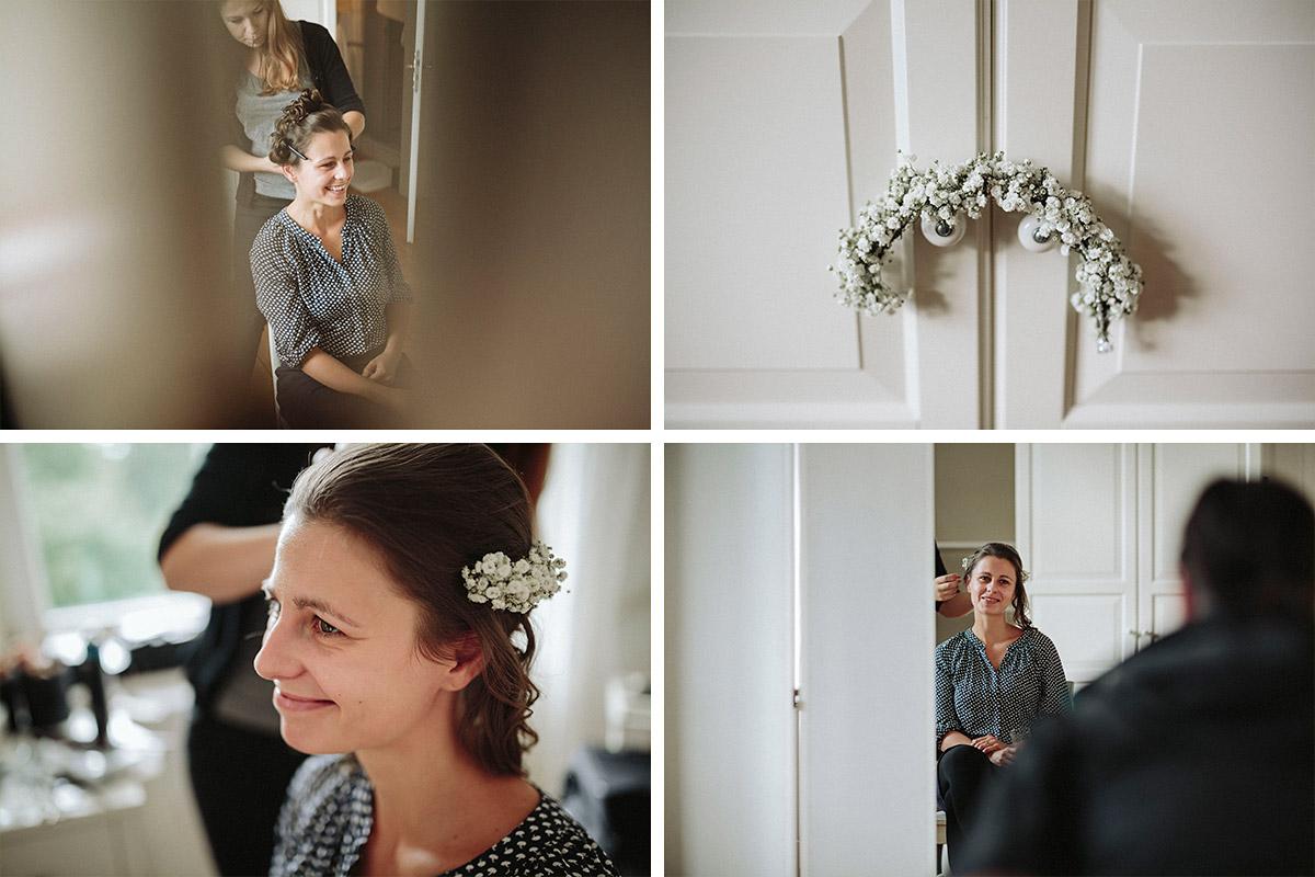 Hochzeitsreportage-Fotos von Vorbereitungen der Braut bei Schloss Neuhausen Hochzeit Prignitz Brandenburg © Hochzeitsfotograf Berlin www.hochzeitslicht.de